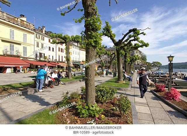 Orta San Giulio at the Lake Orta Lago di Orta Piedmont Piemonte Italy iat the promenade