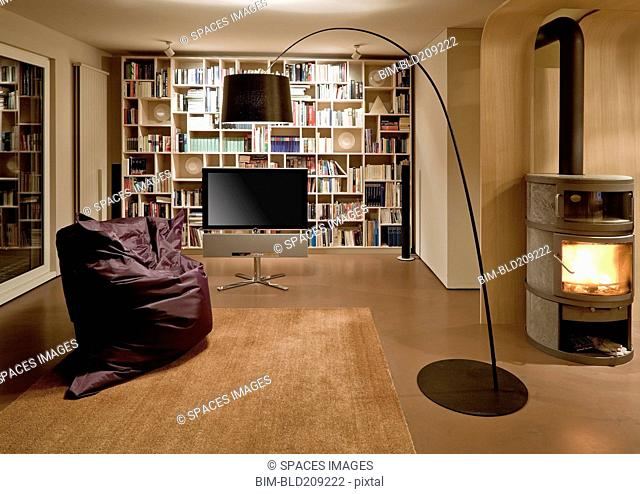 Bean bag chair and television in modern home