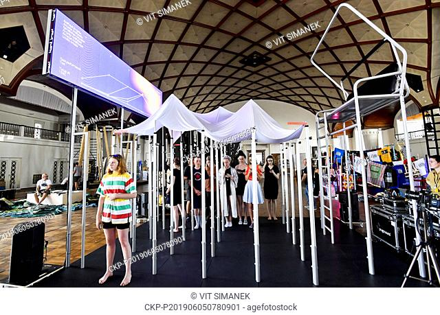Swiss exposition is seen during ongoing preparations to the Prague Quadrennial of Performance Design and Space, on June 5, 2019, in Prague, Czech Republic