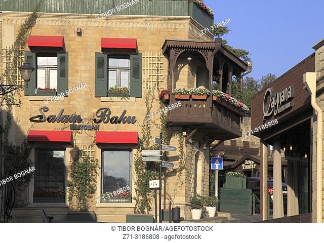 Azerbaijan; Baku, Old City, street scene, Salam Baku restaurant,