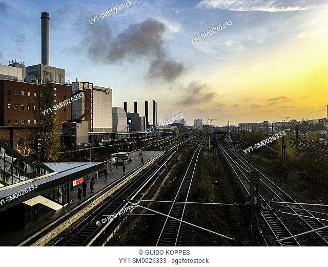Berlin, Germany. View on Railroad and S-Bahn Infrastructure and Industrial Estate in the north-west part of the German capitol