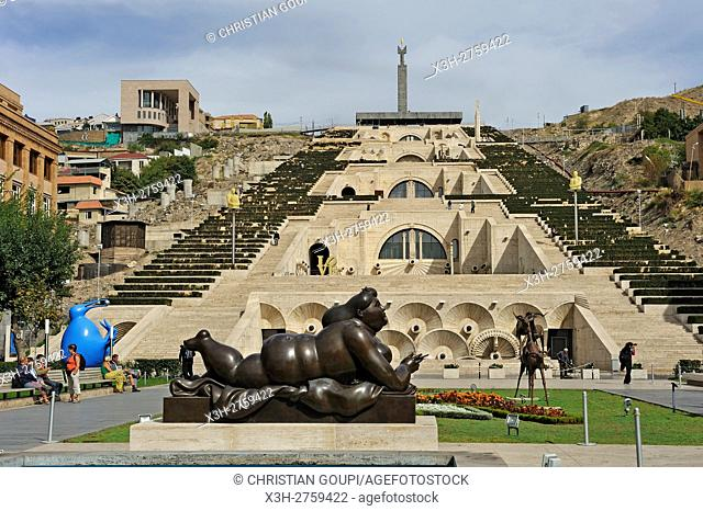 the monumental staiway and garden Cascade viewed from Tamanyan Square with a sculpture by Fernando Botero in the foreground, Yerevan, Armenia, Eurasia