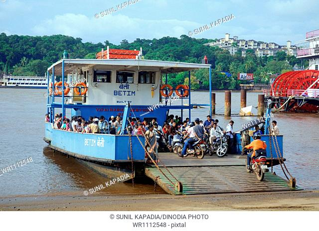 Ferry on Mandovi River Panjim Goa Maharashtra India Asia September 2010