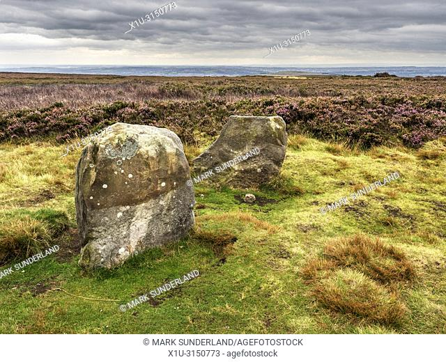 Twelve Apostles stone circle Bronze Age scheduled monument on Burley Moor West Yorkshire England