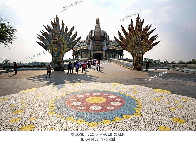Elephant Temple Thep Wittayakhom Vihara, Wittayakom, mosaic, ceramic mosaic in front of the bridge of the two Naga kings, Wat Baan Rai, Korat