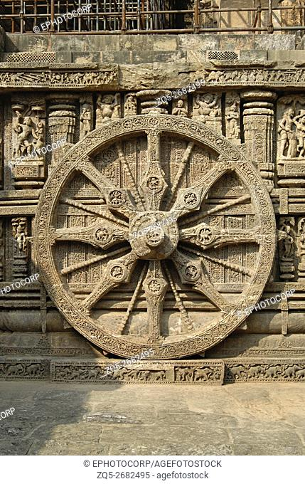 Orissa Konark- Sun Temple- Closer view of one of the decorative wheel on the western side