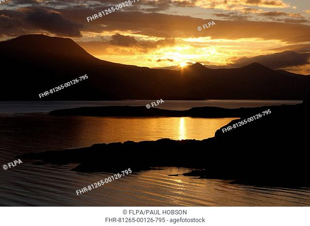 View of sea inlet at sunrise, Loch Scridain, Isle of Mull, Inner Hebrides, Scotland