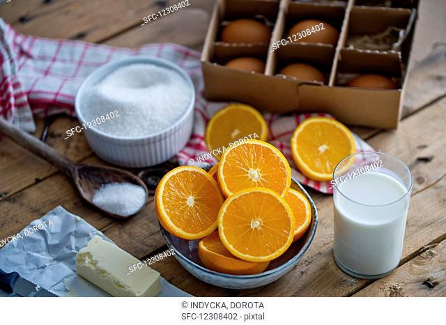 Ingredients for making an orange cake