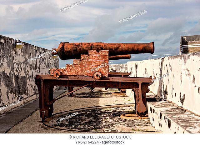 Cannons at Fort Charlotte in Nassau, Bahamas. Built in 1789 by Lord Dunmore and named in honor of the wife of King George III