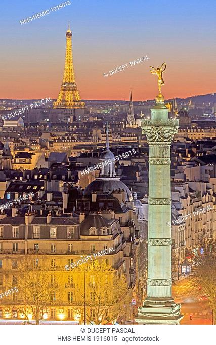 France, Paris, the July Column (Colonne de Juillet) at Place de la Bastille and the Eiffel Tower (© SETE illuminations Pierre Bideau) illuminated at night