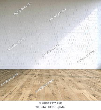 Textured while wall in a loft, 3D Rendering