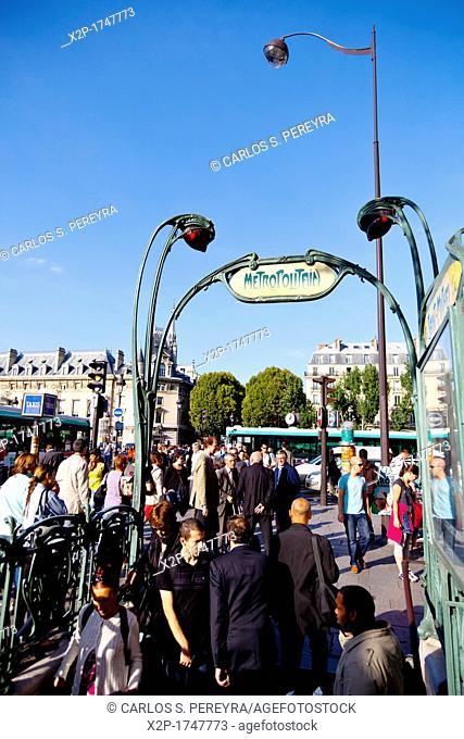 St  Michel Notre Dame subway station with Art Deco style, Paris, Ile de France, France, Europe