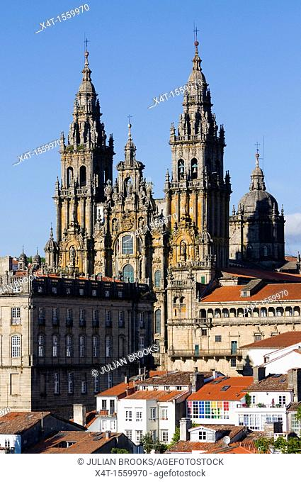 Santiago de Compostela cathedral dominating the skyline of the city