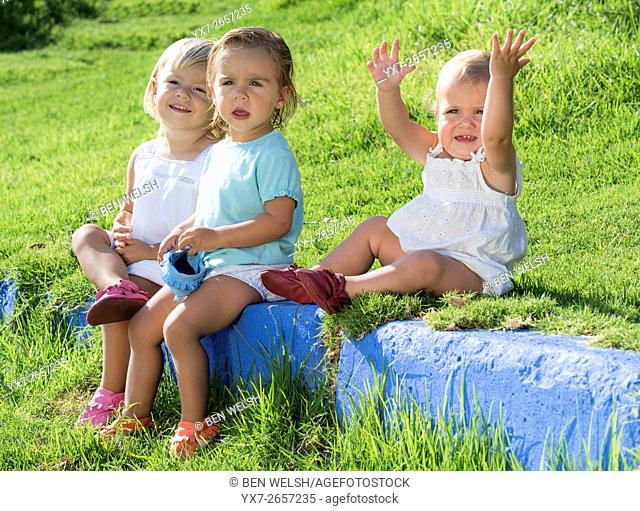 Young children outdoors