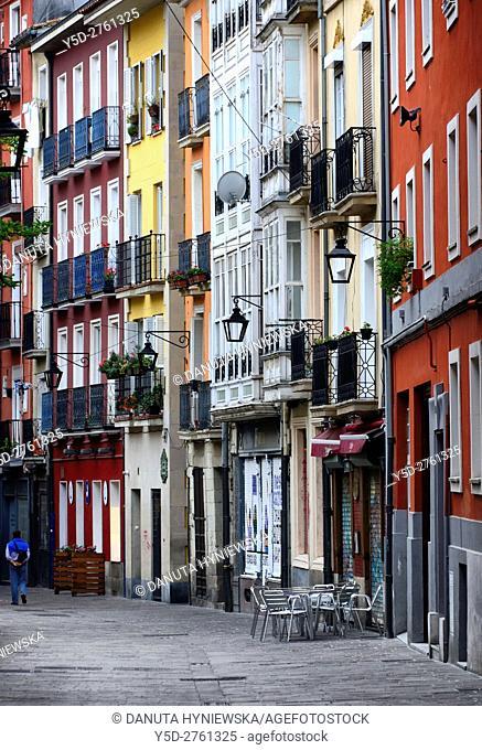 facades of houses in Old Town, Vitoria-Gasteiz. Alava, Araba, Euskadi, Basque Country, Spain, Europe