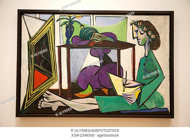Interior with a girl drawing, 1935, painting by Pablo Picasso, MOMA, museum of modern art, New York, USA, America
