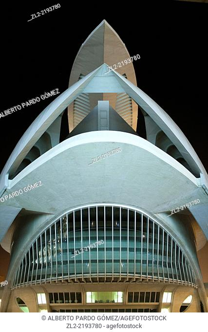 Queen sofia building operates in the city of sciences valencia, Spain