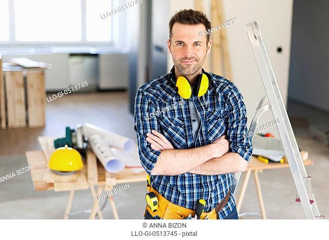 Portrait of handsome construction worker. Pilzno, Poland