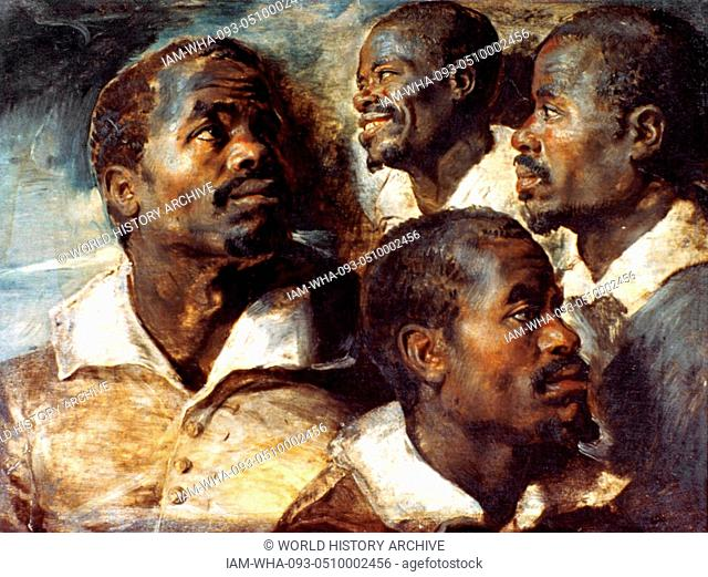 Four Studies of the Head of a Negro by Peter Paul Rubens (1577 - 1640) First half of 17th century. Oil on canvas transferred from wood