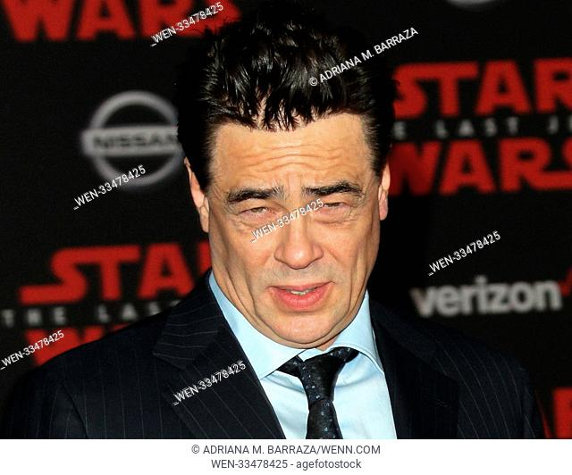 """Star Wars: The Last Jedi"" Premiere held at the Shrine Auditorium in Los Angeles, California. Featuring: Benicio Del Toro Where: Los Angeles, California"