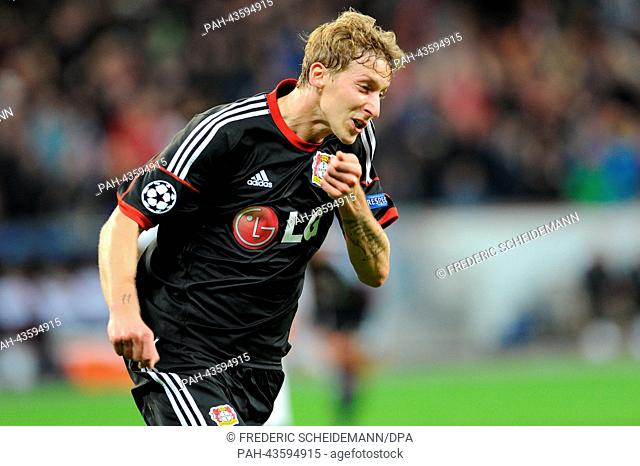 Leverkusen's Stefan Kiessling celebrates his goal during the Champions League group A match between Bayer 04 Leverkusen and FC Shakhtar Donetsk at the BayArena...