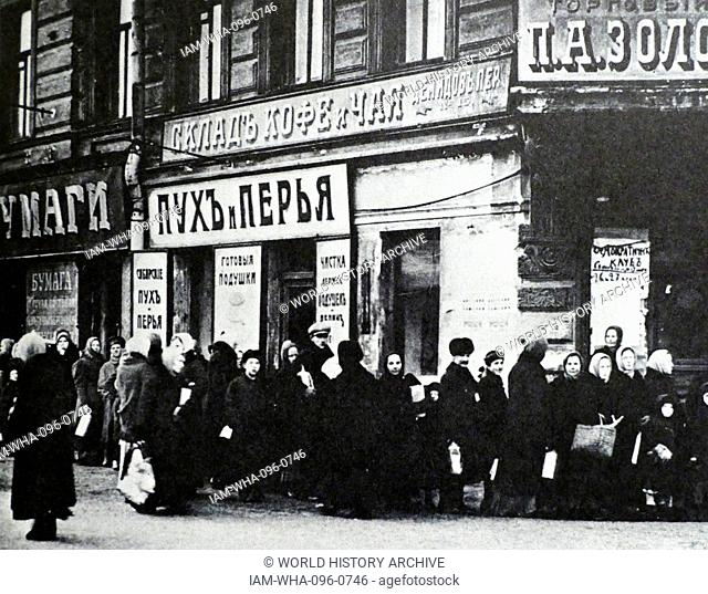 Food queues in St Petersburg (Petrograd) during the weeks before the Russian Revolution 1917