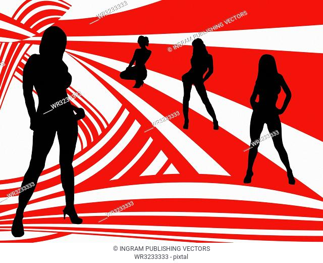 A seventies style image in red and white with sexy women in silhouette
