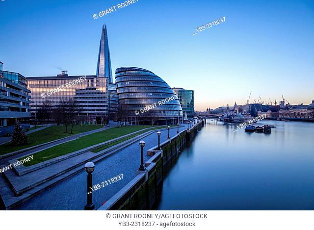 City Hall, The Shard and River Thames, London, England