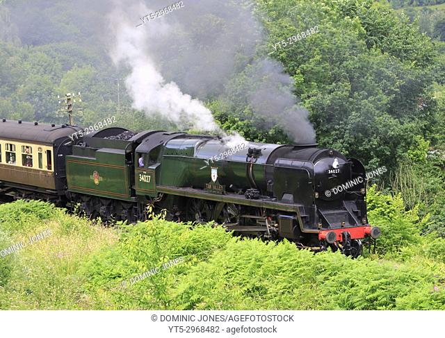 West Country Class 'Taw Valley' departs Highley station, Shropshire, England, Europe
