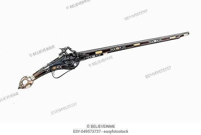 Ancient pistol or musket isolated on a white background