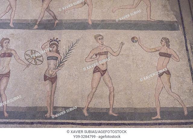 Bikini mosaic, Villa Romana del Casale, Piazza Armerina, Sicily, Italy