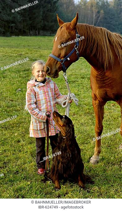 Girl with her horse and dog