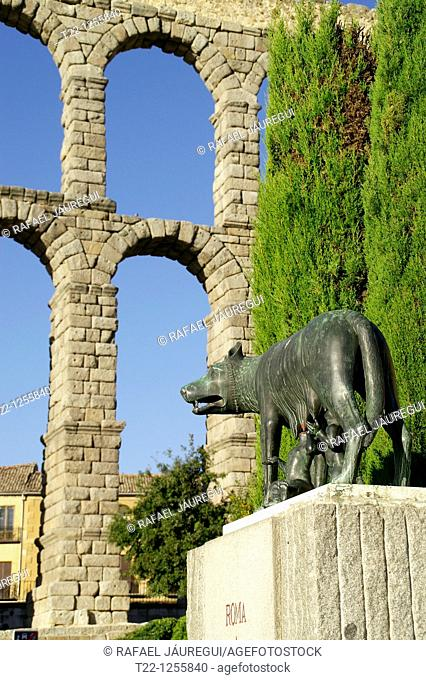 Loba Capitolina Monument in the city of Segovia  Segovia Spain