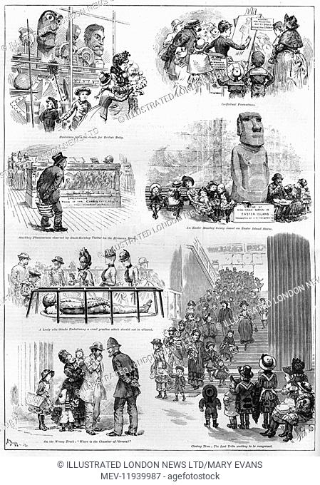 Easter Monday Bank Holiday at the British Museum: Victorian visitors enjoy exploring the exhibits in 1887