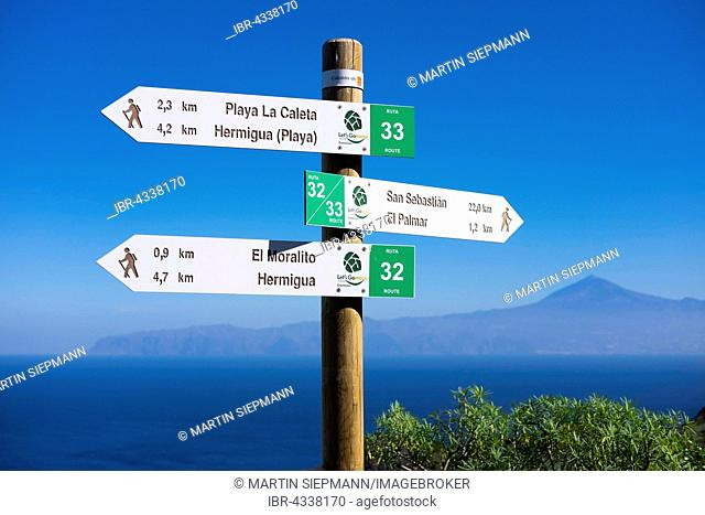 Signposts for hikers, Hermigua, La Gomera, Canary Islands, Spain
