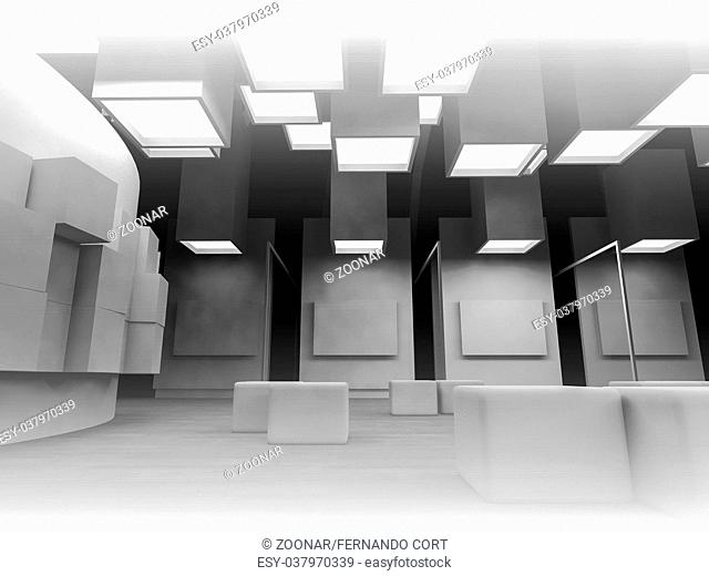 nobody, open space, clean room with shapes in 3d, business space and work
