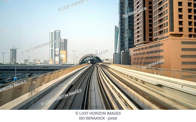 Metro track to downtown Dubai, United Arab Emirates