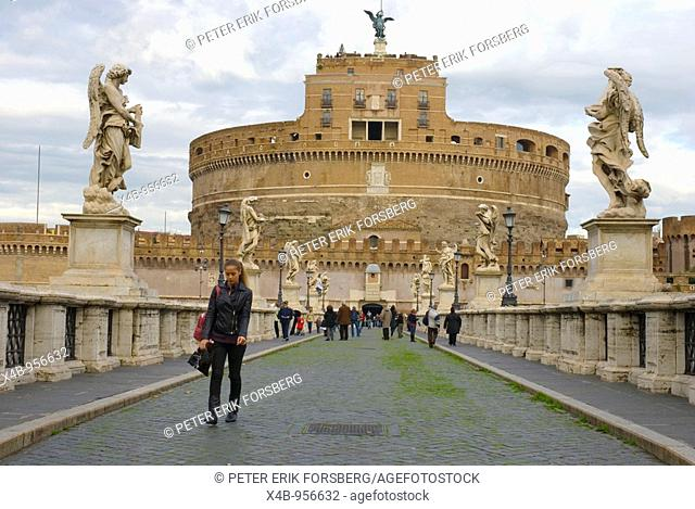 Ponte Sant Angelo leading to Castel Sant Angelo in Rome Italy Europe
