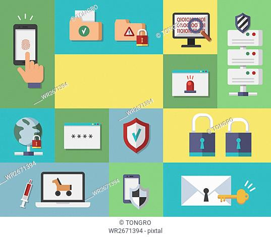 Various icons related to security