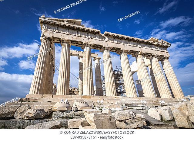 Parthenon temple dedicated to the goddess Athena,, part of Acropolis of Athens city, Greece