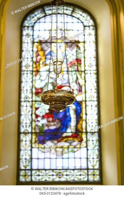 Canada, Quebec, Quebec City, Basilique-Cathedrale-Notre Dame-de-Quebec, Cathoic basilica, stained glass window