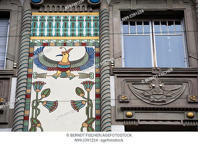 Strasbourg, Art Nouveau, apartment house with Egyptian decor, Alsace, France