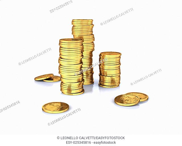 Gold dollar coins stacks and a few lose on a white surface, slightly reflective. White background