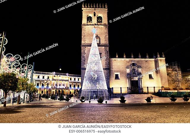 Cathedral square with christmas led light tree, Badajoz, Spain
