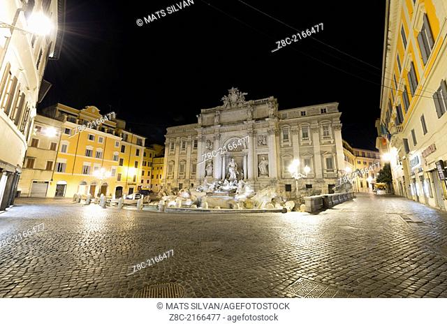 Empty Trevi fountain and square at night In Rome, Italy