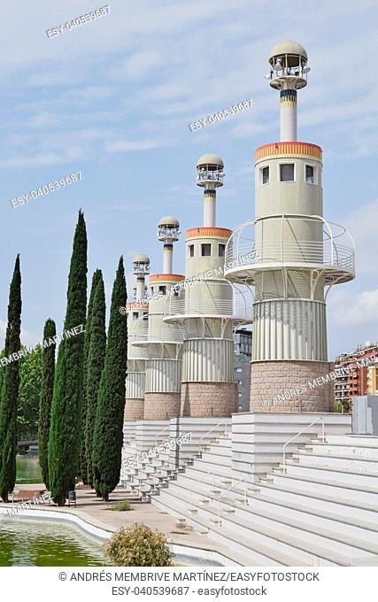 Towers in the Parc de l'Espanya Industrial in Barcelona. Catalonia, Spain