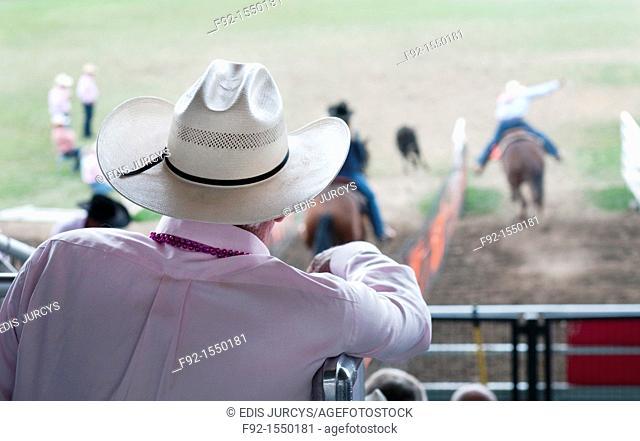 Man watching Rodeo in Pendleton, Oregon