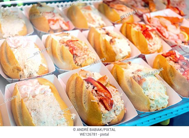 Lose crab meat bread rolls sold at San Francisco Fisherman's Wharf, California, USA