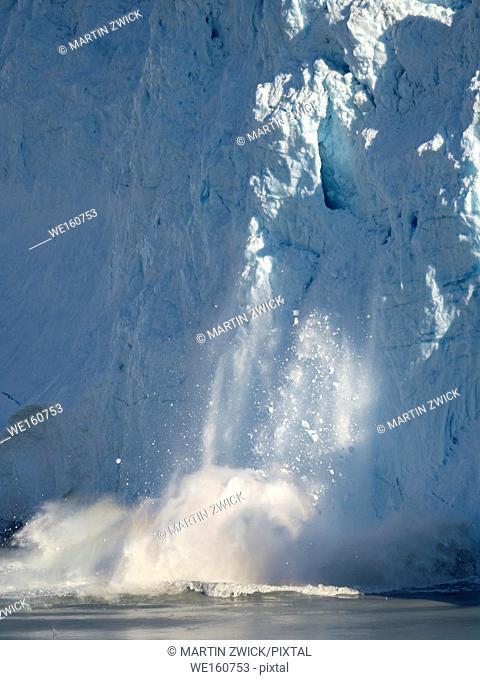 The glacier Eqip (Eqip Sermia) calving, in western Greenland. America, North America, Greenland, Denmark