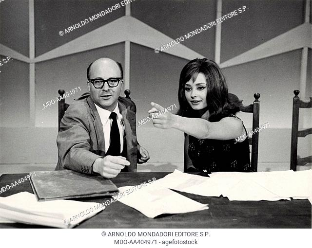 Raffaella Carrà and Lino Procacci in Il paroliere questo sconosciuto. Italian TV presenter, actress, singer and showgirl Raffaella Carrà (Raffaella Maria...